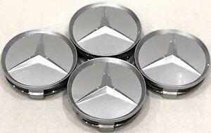 """4Pcs, Wheel Center HubCap 75MM / 3"""" Paint Silver Matte Mercedes Benz Fit: C S E"""