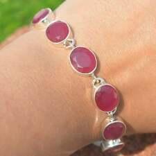 925 Silver Faceted red Ruby 8 stone gemstone oval shape bracelet, Chunky bracele