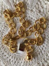 Nos Vintage Gold Metal Anne Klein Chain Link Belt Lion Tag