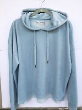 DKNY Sport Velour Pullover Hoodie Size Large Baby Blue Relax Fit Extremely Soft