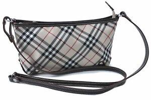 Auth BURBERRY BLUE LABEL Shoulder Cross Body Bag Nylon Leather Beige Brown E3236