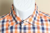 St. Croix Men's white, blue & orange detailed long sleeve shirt Made in Italy L