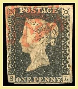 Great Britain One Penny Black Queen Victoria Used Faults