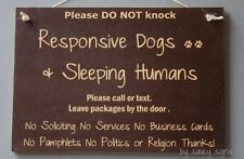 2Black Do Not Knock Responsive Dogs Warning Sleeping Humans Sign No Soliciting