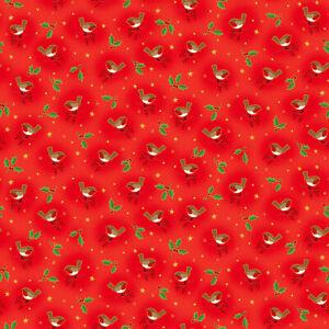Makower Classic Robin Red Christmas Cotton Fabric fat quarter patchwork craft