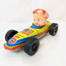 Vintage 1950s Tin Race Car with Driver USA American Flag Made in Japan