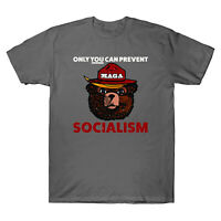 MAGA Bear Only You Can Prevent Maga Socialism Funny Vintage Men's T Shirt Cotton