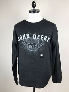 John Deere Men's Sweatshirt Long Sleaves Shirt Top Spellout Black Size L
