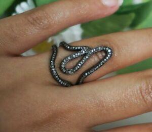 Pave Diamond Wave Ring 925 Silver Diamond Unique Handmade Ring Birthday Gift
