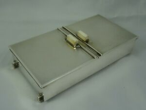 STUNNING ART DECO sterling silver `DOUBLE OPENING`, CIGARETTE BOX , 1947