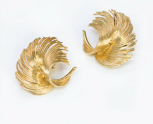 Tiffany & Co. 18K Yellow Gold Feather Clip Earrings
