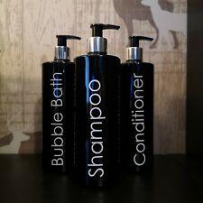 Mrs Hinch Refillable Dispenser Pump Bottles Black, Shampoo Storage 500ml Bottles
