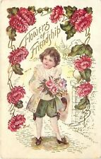Lil Boy Comes Calling With Roses~Hat In Hand~Lace Collar~Cuffs~Red Mums~Gold~Emb