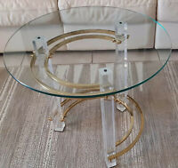 MODERN BRASS/ LUCITE AND GLASS END TABLE ATTRIBUTED TO CHARLES HOLLIS JONES. !!!