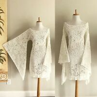 VTG Boho Cream Sheer Crochet Lace Bell Sleeve 70s Hippie Wedding DRESS