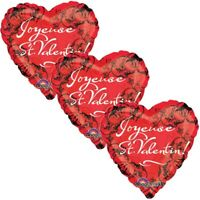 3 pc Joyeuse St. Valentin I Love You Heart Valentines Day Balloon Bouquet Kiss