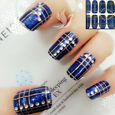 3D BLUE Sparkly Nail Art Wraps Full Cover Rhinestone Stickers #06134 Free P&P