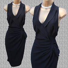 KAREN MILLEN Black Tuxedo Wrap Style Frill Cocktail Office Wiggle Dress UK 12