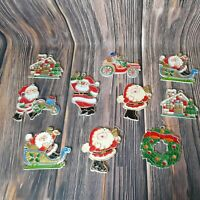 VTG Stained Glass Plastic Christmas Window Suncatcher Lot Santa Wreath Gingerbre