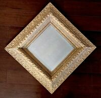 "Mirror Wood 22"" Ornate Gold Square Diamond Beveled Vtg Antique Picture Frame"