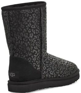 $180+ NWT +Box UGG Australia Women's Sz 9 Classic Short Black Snow Leopard Boots