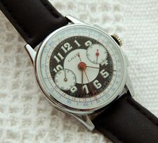 VINTAGE GALLET & Co CHRONOGRAPH WHITE BLACK DIAL 35.2MM CASE JUST SERVICED