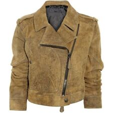 Burberry Prorsum Brown Distressed Suede Cropped Cracked Leather Biker Jacket 42