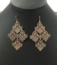 Earrings Gold Coloured Hollow Out Flower Earring Drop Dangle Hook Ladies
