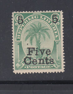 """Liberia # 50d MINT """"Straight Flag"""" Variety 1893 Surcharge CV $30!"""
