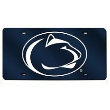 Penn State Nittany Lions Blue Mirrored Laser Cut License Plate Laser Tag