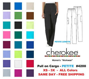 Cherokee Workwear PETITE Women's Nurse Scrub Pants  Style 4200 ~NEW~ Free Ship