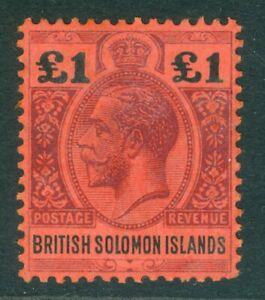 SG 38 British Solomon Islands 1914-33. £1 purple & black/red. Very lightly...