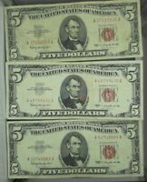 $5 RED SEAL NOTE AVERAGE CIRCULATED- FREE SHIPPING! EACH LOT IS 3 NOTES..