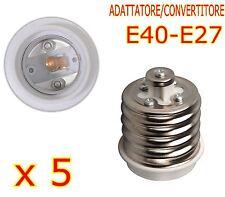 CONVERTITORE DA E40 A E27 LAMPADE FARETTI LED ADATTATORE E40-E27 KIT 5 PEZZI