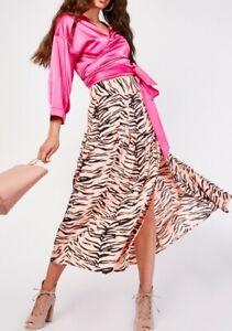 New Topshop Womens Ladies Pink Zebra Size 10 Animal Print Maxi Skirt Midi