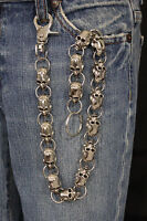 New Men Silver Metal Long Wallet Chains KeyChain Big Skulls Skeleton Biker Jeans