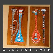 MID CENTURY MODERN ATOMIC MUSIC INSTRUMENT WALL ART Vtg Gravel 50s Mosaic Pebble