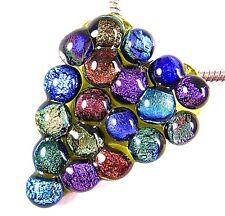 "Dichroic Fused Glass HEART PENDANT Rainbow Recycled Dichro Polka Dots 2"" 5cm"