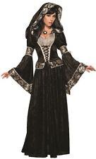 Witches & Wizards Dark Sorceress Hooded Dress Black Velvet Women's Costume Skull