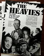The Heavies George Macready, Peter Lorre, Telly Savalas Etc Vintage Article 1970