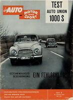 Auto Motor Sport 1960 3/60 Auto Union 1000 S Volvo P 1800 Commer Corvair Turner
