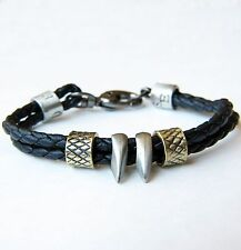 Urban Surfer Gothic Braided Black Leather Bracelet & Shark Tooth Fang Pendants