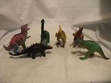 vintage hard plastic dinosaurs 6 in lot bachiosaurous, t rex, parasaurus, etc