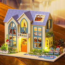 DIY Wooden Dollhouse Miniature Kit / LED Light Romantic Garden English Manual
