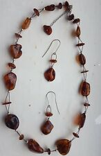 Sterling Silver Natural Free Form Orange Baltic Amber Necklace and Earrings Set