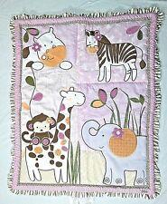 CoCaLo Girl Safari Jacana Jungle Monkey Quilt Zebra Giraffe Purple Comforter EUC