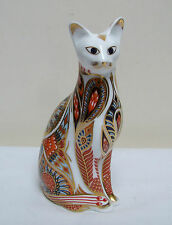 "ROYAL CROWN DERBY SIAMESE CAT PAPERWEIGHT FIGURE FIGURINE 5.5"" GOLD STOPPER 1996"