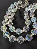 "Elegant Vintage Aurora Borealis 1950's Multi-Faceted Clear Crystal 32"" Necklace"