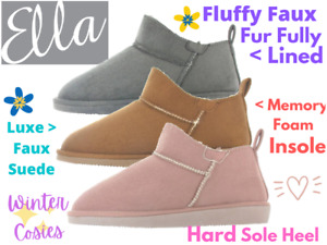Ladies Ella Shoes Faux Suede Fur Lined Pull On Ankle Slipper Boots Slippers