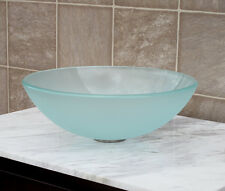 Bathroom Frosted Glass Vessel Vanity Sink with Pop Up Drain and mounting Ring